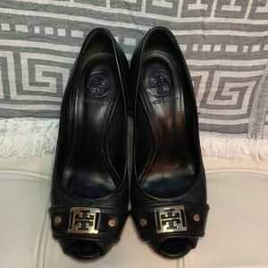 Tory Burch leather wedges.